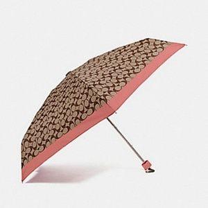 Coach Signature Mini Umbrella in Coral, NWT